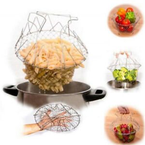 Foldable Basket Mesh Strainer Net Colander Cooking Tool For Food Rinsing Frying
