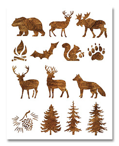 Animals Stencil Camping Animals Stencil 9quot;x11quot; Camping In The Woods