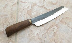 Crude Premium Asian Nakiri Utility Knife 7 inch Carbon Steel Handmade