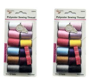 24 Pcs Polyester sewing Thread Mix Colors 15 Yards Card $9.99