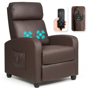Massage Recliner Chair Single Sofa PU Leather Padded Seat w Footrest Brown