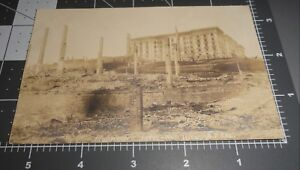 RARE 1900's SAN FRANCISCO CA FIRE FAIRMOUNT HOTEL NOB HILL Vintage RPPC PHOTO