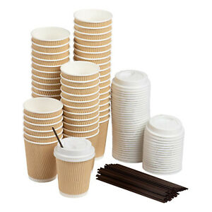Disposable Coffee Cups Set 50 Pack Kraft Paper 8 Ounce Insulated Ripple Cups