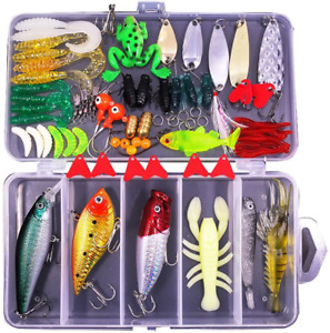 Sptlimes 77Pcs Fishing Lures Kit Set for BassTroutSalmon Fishing NEW