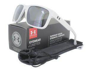 NEW Under Armour ASSIST 8600101 101401 Shiny White Frosted Clear Sunglasses $58.65