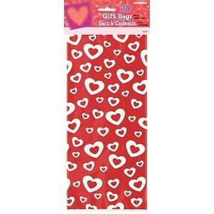 Unique Party 62021 - Cellophane Hearts Afire Valentine Party Bags Pack of 20
