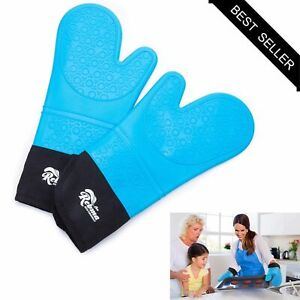 Silicone Oven Mitts Gloves Heat Resistant Extra Long Kitchen Cooking Gloves Blue