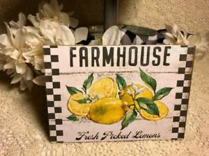 Farmhouse, Fresh Picked Lemons, Handcrafted   Mini Sign /Plaque 5x7