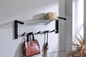 Kings Brand Furniture Wall Mounted Shelf With Coat and Hat Rack 5 Hooks