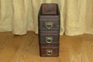 3 Antique Wooden Sewing Machine Drawers HSM Co Brass Handle Pulls #1298 $75.00