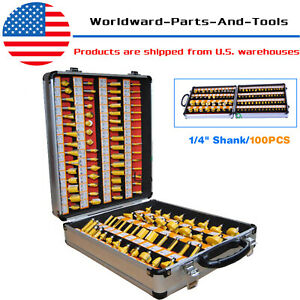 100pc Tungsten Carbide Router Bit Set Woodworking Milling Cutter Kits 1/4