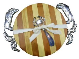 Crab Cutting Board with Matching Spreader Set Wood and Metal