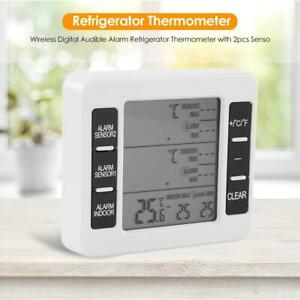 Wireless Digital Audible Alarm Temp Refrigerator Freezer Thermometer with Sensor