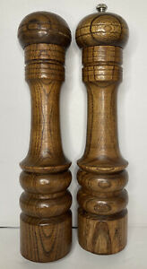 """Wooden Salt Shaker And Pepper Mill Grinder 10"""" Tall X 2.5"""" Wide Tested Working"""
