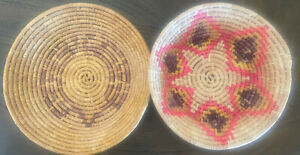 Set Of 2 African Botswana Vntg Antique Baskets Grasses Purple Yellow Pink Mint $47.00