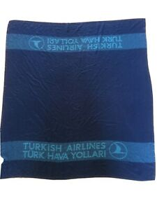 Vintage TURKISH AIRLINES Woven In Flight Blanket 1
