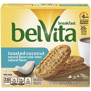 belVita Breakfast Biscuits, Toasted Coconut Flavor, 30 Packs 4 Biscuits Per Pack