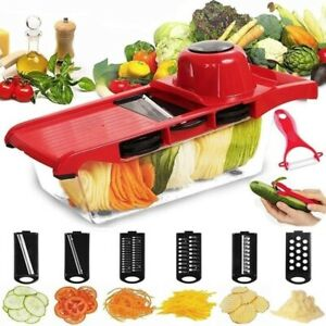 6 In 1 Vegetable Slicer Cutter Steel Blade Potato Peeler Grater Dicer Kitchen