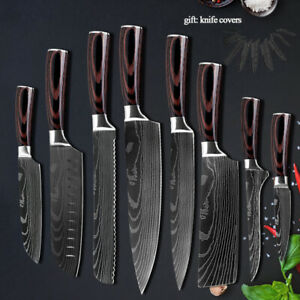 Kitchen Knife Set Japanese Damascus Style High Carbon Stainless Steel Chef Knife
