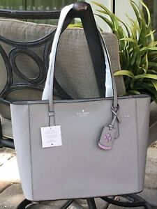 KATE SPADE SCHUYLER MEDIUM TOTE SHOULDER BAG SOFT TAUPE GREY LEATHER $329