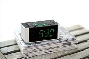 Enabled Alarm Clock with Radio and QI Wireless Mobile Charger with Bluetooth