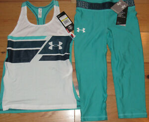 Under Armour logo tank top & crop capris teal leggings NWT UPICK girls' M L XL $31.99