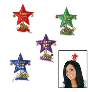 (12) Happy New Year Star Hair Clips asstd colors