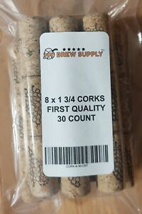 8 x 1 3/4 First Quality Straight Wine Corks 30 ct.for wine