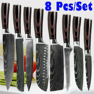 Kitchen Knives Set Japanese Damascus Pattern High Carbon Stainless Steel Knife