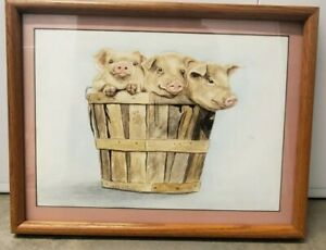 Libby Norris Watercolor original Of 3 Pigs In A Basket Country Art folk art $100.00