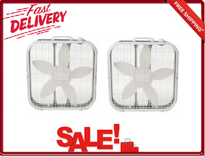 3 Speed Box Fan With Handle 20 Inch White 2-Pack Top-Mounted Controls 72