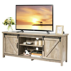TV Stand Media Center Console Cabinet Sliding Barn Door for TV#x27;s 60quot; White Oak $189.99