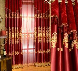 Embroidered Blackout Curtains Window European Style Treatment Drapes Home Decors