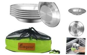 Bisgear Camping Stainless Steel 8.5 inch Kitchen Dinner Plate Pack of 6 + 6pcs