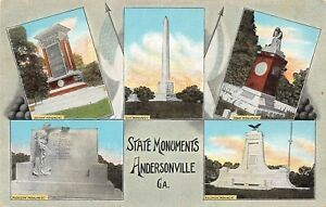 D88 Andersonville Georgia Ga Postcard c1930s State Monuments 5View $5.61