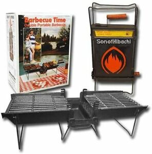 Mr. Flame Son of Hibachi Portable Vintage Cast Iron Charcoal Grill Self