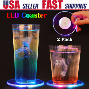 2 LED Light Cup Pad Beer Drink Holder Mat Coaster Christmas Party Club Bar Decor