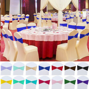 25 50 100pcs Stretch Buckle Bow Chair Sashes Cover w Slider Wedding Party Decor