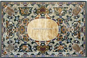 Traditional Inlay Design Marble Breakfast Console Top Antique Table Decor H3867