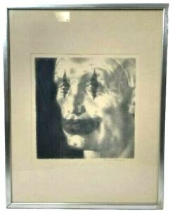 Joseph Hirsch quot;Clown Facequot; Signed Lithograph Black and White Framed Print 15x19 $227.44