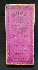 ANTIQUE HOPE THREAD CO SEWING SPOOL COTTON BOX ONLY *RARE* $25.00