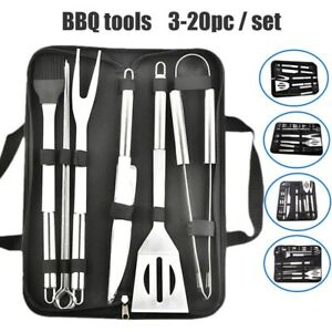 BBQ SET Grill Cooking Utensils Kit Stainless Steel Tool Barbeque Portable Case