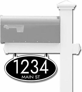 Curb-N-Sign®, Hanging Mailbox Address Sign, Oval, Double Sided, Reflective