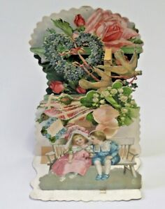 Antique Stand Up 3 D Die Cut Valentine Card Boy and Girl Doves Flowers 3749 $29.95