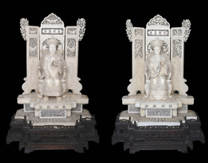 ANTIQUE Chinese huge 1890 pair of Emperor and Empress statues
