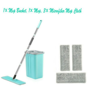 Self Cleaning Drying Wringing Mop Bucket System Flat Floor Free Hand Wash NEW
