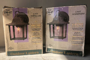 2 New-still Pckgd Prime Cast Alum. Outdoor Lanterns- Boxes open&Lightly Damaged