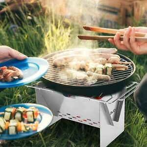 Folding Portable Barbecue BBQ Grill Fire Stove Outdoor Cooks Camping Backpacking