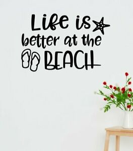 Summer Quotes Wall Decals Life is Better at Beach RV Sticker Camping Letters