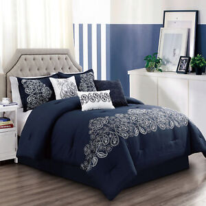 Chezmoi Collection Linz 7 Piece Paisley Floral Scroll Embroidered Comforter Set
